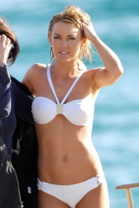 Kelly Carlson hard nipples in white bikini