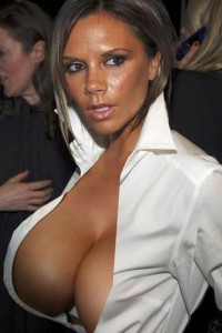 Victoria Beckham exposing her boobs